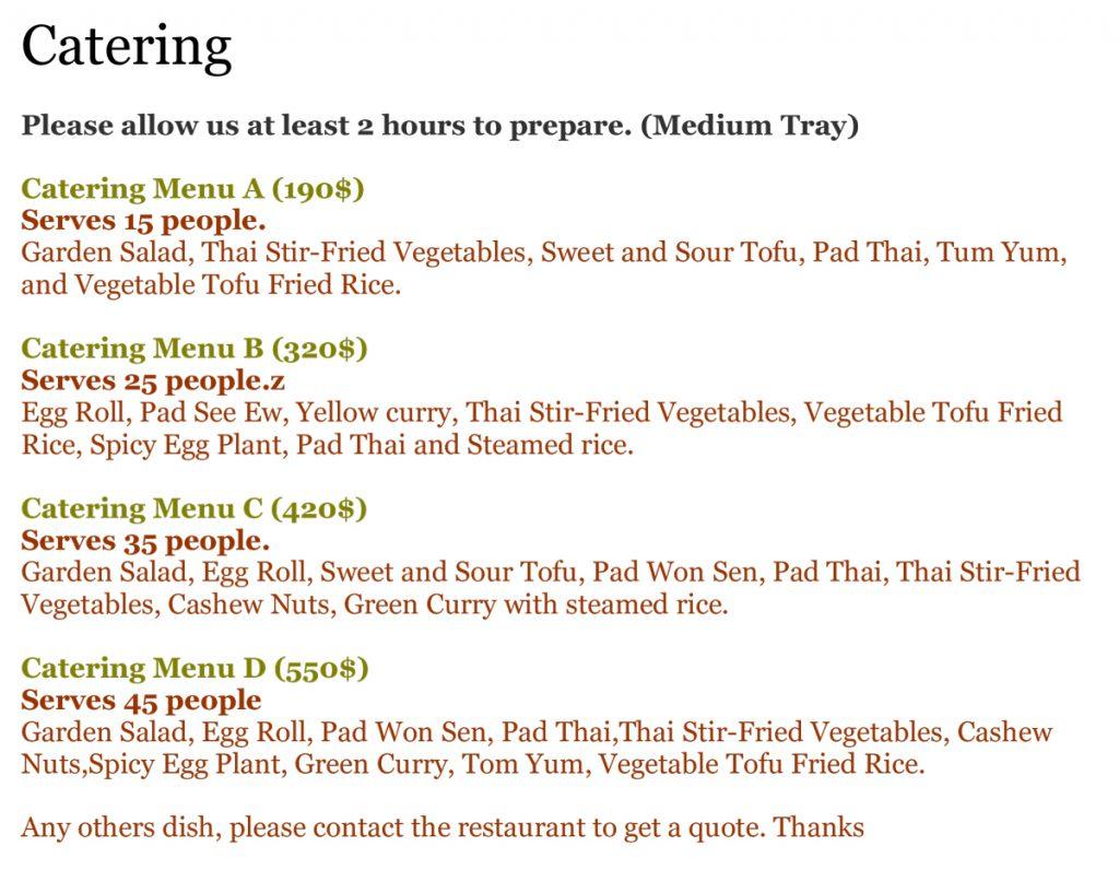 Veggie House Catering Menu